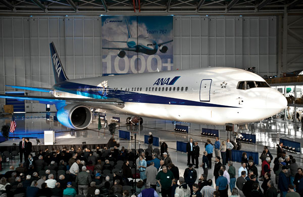 Boeing rolls out 1,000th 767, begins new assembly line