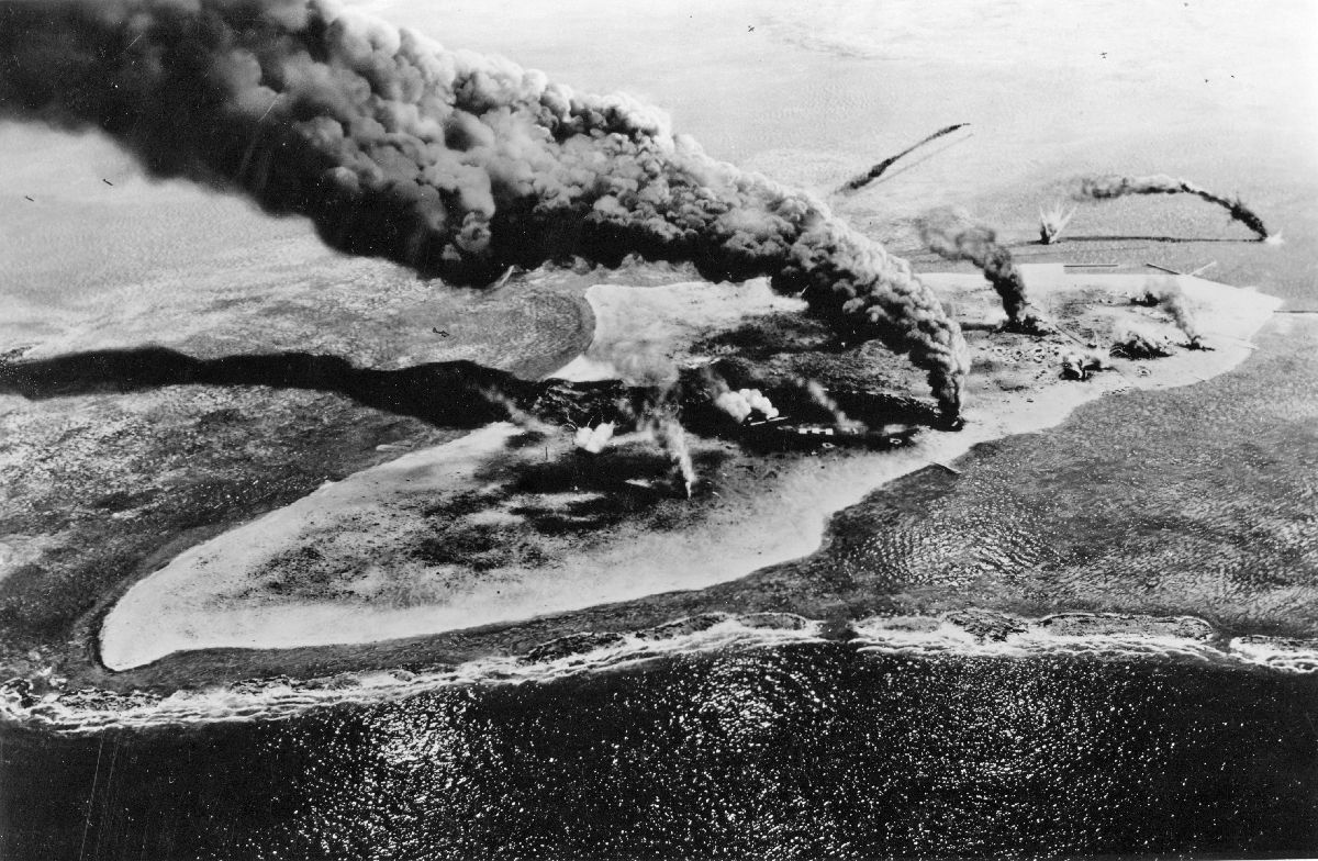 Jap Attack Sand Isl.:  Sand Island, which housed most of the Atoll's facilities, also saw extensive damage including the base hospital and power station.  Although seriously wounded Midway's defenders were still potent shooting down 15 of the attackers.  The Japanese air commander sent back word that a second raid was indicated.