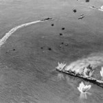 CV-8 bombers leave Moagmi Gutted 6-6 at 10:50:  Mogami shudders under repeated attacks by Hornet's carrier planes and limps back to Truk.  Camera equipped SBD brought back pictures of the two cruisers becoming some of the most famous images from the war.