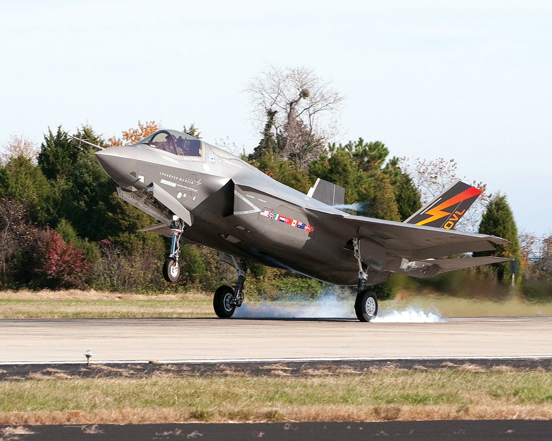 This shows the arrival of BF-1, the first F-35B variant, at Patuxent River, Maryland, in 2010.