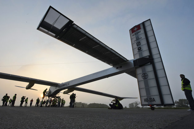 Solar plane on historic intercontinental flight