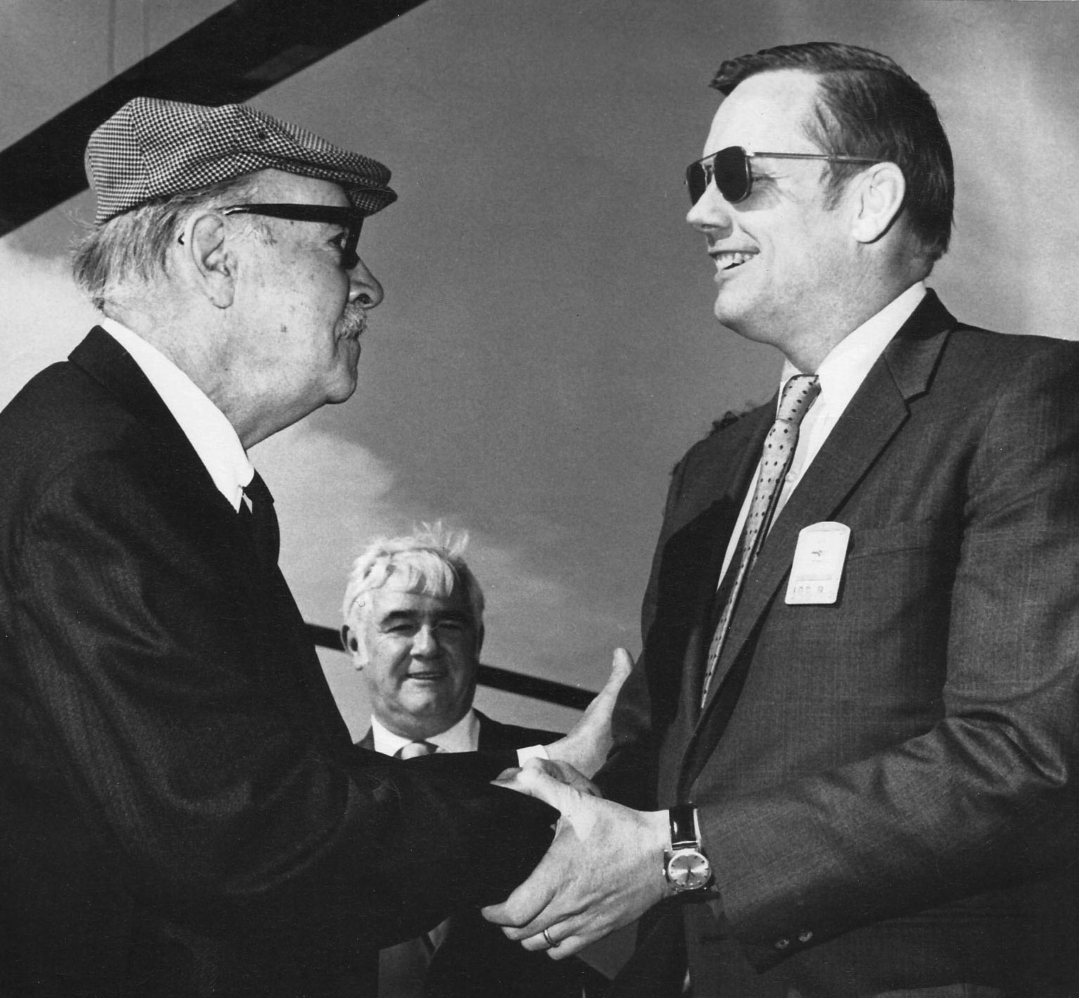 As a boy, Sikorsky was told that man would never fly. He is shown shaking hands with the first man to walk on the moon a brief 66 years after the Wright Brothers flew. (Photo courtesy of Igor I. Sikorsky Historical Archives)
