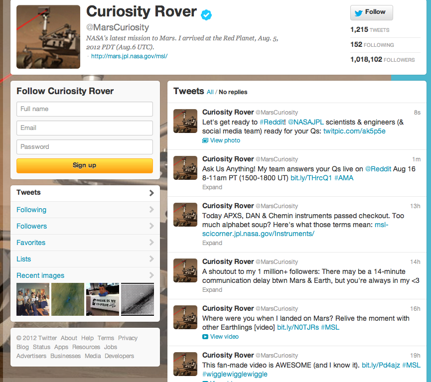 Curiosity Rover tweets from Mars