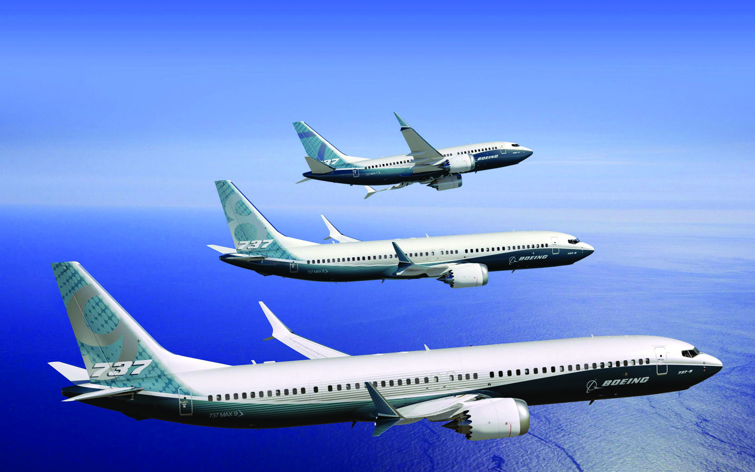 The 737 MAX family is shown in this artist's concept: 737 MAX 7 (top), 737 MAX 8 (center), 737 MAX 9 (bottom). (Photo courtesy of Boeing Media)