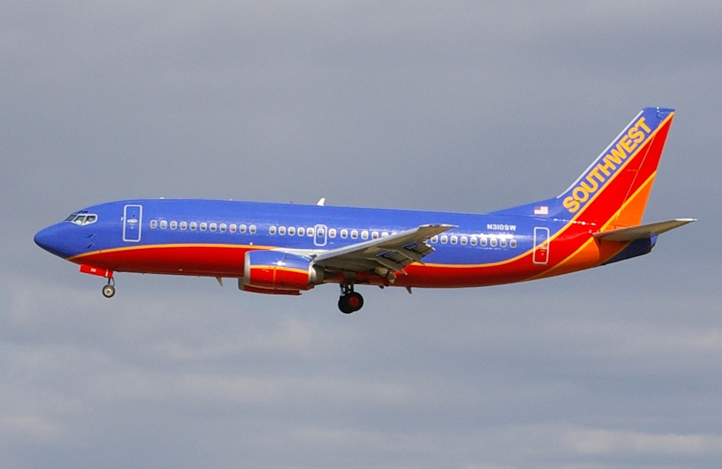 Southwest Plane Slides Off Denver Taxiway