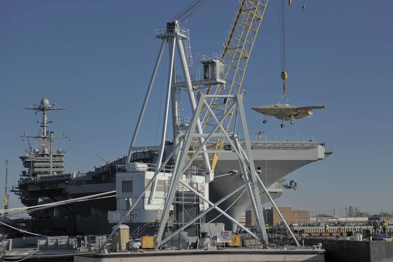 X-47B Loaded Onto U.S.S. Truman for Tests