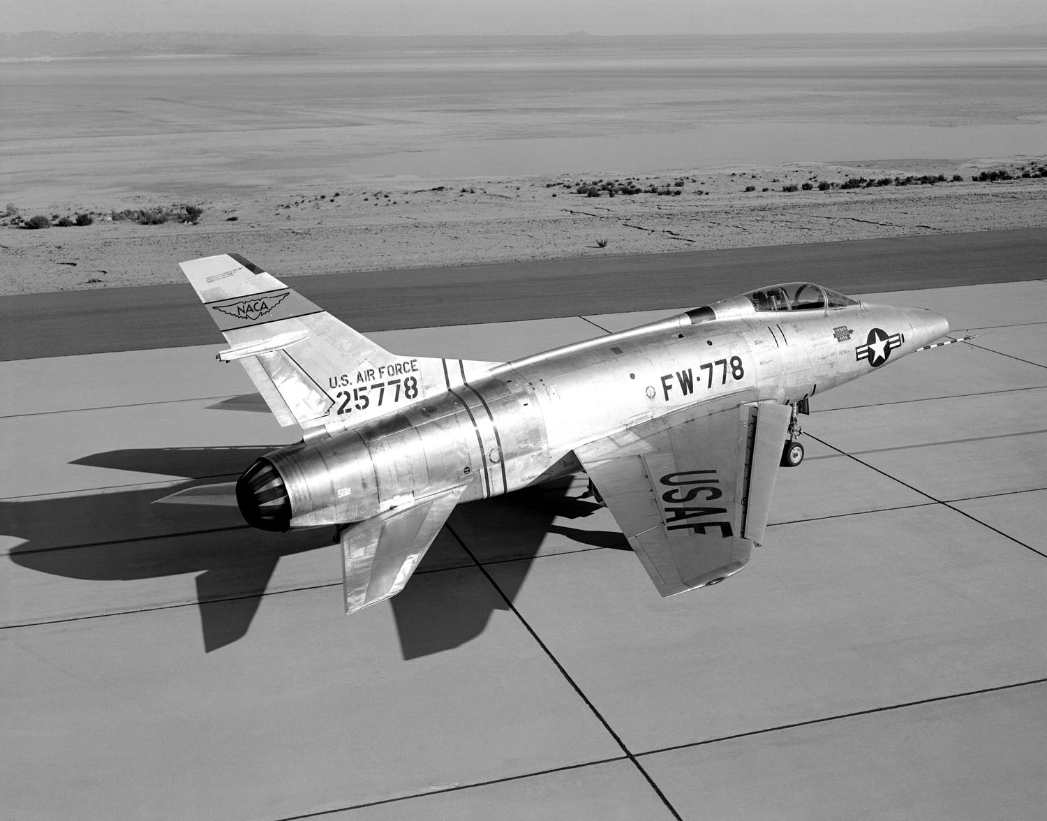 The first of two YF-100A aircraft on its first flight. (Photograph courtesy of the National Museum of tahe United States Air Force)