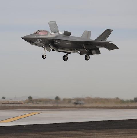 Marine F-35B Conducts First Vertical Landing