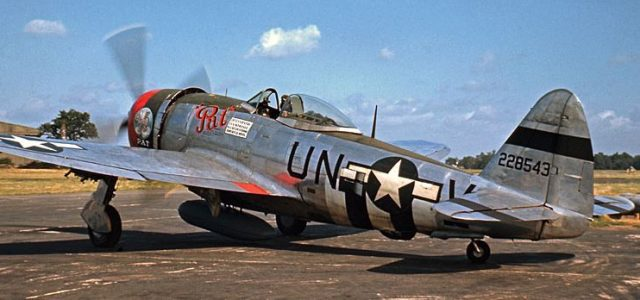 "P-47D UN-V, named ""Pat,"" from the famed 56th FG, 63rd FS, prepares for another fighter sweep in support of the invasion.  The second mount of Capt. Gordon S. Stevens, it survived until early September, being lost with Capt. Roy Fling at the controls. Stevens himself was lost in a ""Pat"" replacement on the 18th of September, a victim of flak over Belgium."