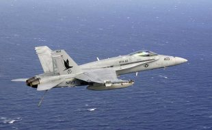 041028-N-3799S-016 Pacific Ocean (October 28, 2004) - An F/A-18C Hornet assigned to the ÒMaraudersÓ of Strike Fighter Squadron Eight Two (VFA-82), lowers its tail hook in preparation for landing aboard the Nimitz-class aircraft carrier USS Abraham Lincoln (CVN 72). Lincoln and embarked Carrier Air Wing Two (CVW-2) are currently deployed to the Western Pacific Ocean. U.S. Navy photo by Lt. Perry Solomon (RELEASED)