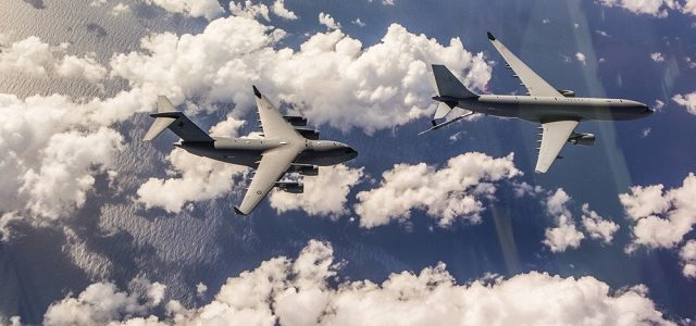 Flight test trials of a RAAF KC-30A Multi Role Tanker Transport refuelling a RAAF C-17A Globemaster III during the first air-to-air refuel near Brisbane Queensland. *** Local Caption ***  A flight test team from the Aircraft Research and Development Unit successfully conducted the first air-to-air refuelling trials between a RAAF KC-30A Multi Role Tanker Transport and a RAAF C-17A Globemaster III on 27 April 2016 off the Queensland coast.   Pilots and aerial refuelling operators from No 33 Squadron and No 36 Squadron, both based at RAAF Base Amberley, as well as members of the United States Air Force were also involved in the trials.   These trials are part of the clearance program for air-to-air refuelling from the KC-30A's Aerial Refuelling Boom System (ARBS), which is also compatible with refuelling the F-35A Lightning II, as well as the E-7A Wedgetail, P-8A Posideon, and other KC-30As. Air-to-air refuelling increases the operating range of RAAF aircraft, and is a critical capability in establishing the RAAF as a modern and fully integrated combat force.   The Aircraft Research and Development Unit is located at RAAF Base Edinburgh and is part of the RAAF Air Warfare Centre, which is responsible for driving innovation and integration across the Air Force.