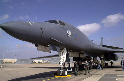 DYESS AIR FORCE BASE, Texas -- The first operational B-1B Lancer in the Air Force, also known as the Star of Abilene, sits on the flightline here after flying its last mission in 2003. The base celebrated the bomber's 20th anniversary June 29. (U.S. Air Force photo)