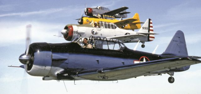 A formation of colorful AT-6 Texans line up for a photo pass.