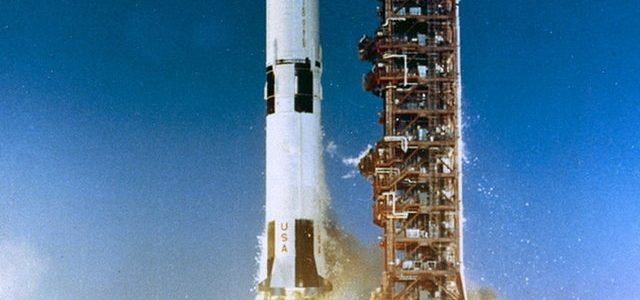 SATURN V, APOLLO 6 (AS-502) LAUNCH FROM CAPE. PAD 39A. REF: 116-KSC-68PC-59