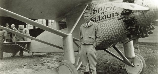 Charles Lindbergh standing beside the Spirit of St. Louis. Photograph by American Commercial Photographers (attrib.), 1927. Missouri History Museum Photographs and Prints Collections. Lindbergh, Charles A. Collection. n22380.