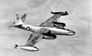 North American B-45C (S/N 48-001) in flight. (U.S. Air Force photo)